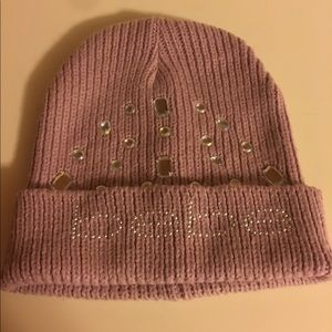 BEBE hat with crystal looking gems.  Pretty & Cozy